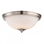 LED Tess Dome Flush Mount Light, Brushed Nickel, Frosted Fluted Glass