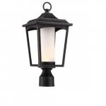 Essex LED Post Lantern Light Fixture, Sterling Black, Etched Glass