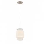 12W, Del LED Mini Pendant Lights, White Opal Glass, Brushed Nickel Finish