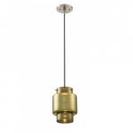 12W, Del LED Mini Pendant Lights, Antiqued Glass, Brushed Nickel Finish