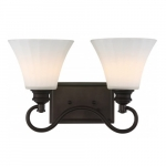 2-Light LED Tess Vanity Fixture, Forest Bronze, Frosted Fluted Glass
