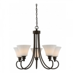 5-Light LED Tess Chandelier, Forest Bronze, Frosted Fluted Glass