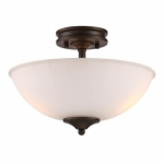 LED Tess Semi-Flush Mount Fixture, Forest Bronze, Frosted Fluted Glass