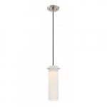 LED Pulse Mini Pendant Light Fixture, Brushed Nickel, White Opal Glass