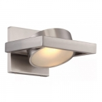 LED Hawk Pivoting Head Wall Sconce, Brushed Nickel, Opaque Glass