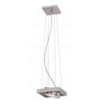 LED Hawk Pivoting Head Pendant Light, Brushed Nickel, Opaque Glass