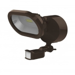 14W LED Security Flood Light w/ Motion Sensor, Single Head, Bronze, 4000K