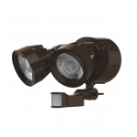 24W LED Security Light w/ Motion Sensor, Dual Head, Bronze, 4000K