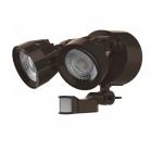 24W LED Security Light w/ Motion Sensor, Dual Head, Bronze, 3000K