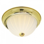 "15"" LED Flush Mount Light, Polished Brass, Frosted Melon Glass"