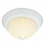 "15"" LED Flush Mount Light, Textured White, Frosted Ribbed Glass"
