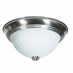 "15"" LED Flush Mount Light, Brushed Nickel, Frosted Melon Glass"