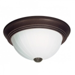 "15"" LED Flush Mount Light, Old Bronze, Frosted Melon Glass"