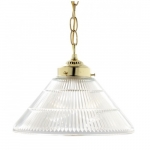"""12"""" Pendant Lights, Prismatic Cone Shade, Polished Brass"""