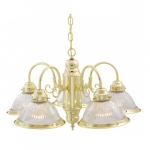 "22"" Chandelier Lights, Clear Ribbed Shade, Polished Brass"