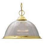 "15"" Pendant Lights, Prismatic Dome, Polished Brass"