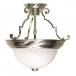 13in Semi-Flush Mount Light, 2-Light, Brushed Nickel