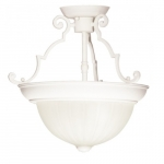 13in Semi-Flush Mount Light, 2-Light, Textured White