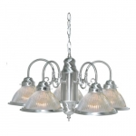 22in Chandelier Light Fixture, 5-Light, Brushed Nickel