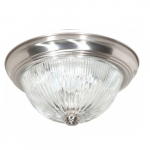 "11"" Flush Mount Light, Clear Ribbed Glass, Brushed Nickel"