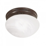 "8"" LED Flush Mount Lights, Alabaster Mushroom Glass Shade, Old Bronze"
