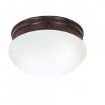 """10"""" LED Flush Mount Lights, Alabaster Mushroom Glass Shade, Old Bronze"""