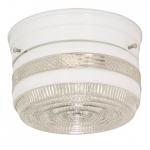 """6"""" Flush Mount Ceiling Light Fixture w/ Crystal and White Drum, White"""