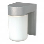 Utility Outdoor Wall Light, Satin Aluminum, White Glass Cylinder