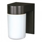 Utility Outdoor Wall Light, Black, White Glass Cylinder