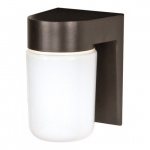 Utility Outdoor Wall Light, Bronzotic, White Glass Cylinder