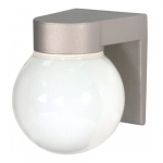 Utility Outdoor Wall Light, Satin Aluminum, White Glass Globe