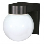 Utility Outdoor Wall Light, Black, White Glass Globe