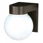 Utility Outdoor Wall Light, Bronzotic, White Glass Globe