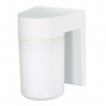 "6.8"" Outdoor Utility Wall Light, White, White Glass Cylinder"
