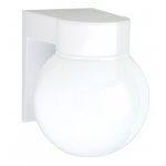 "8"" Outdoor Utility Wall Light, White, White Glass Globe"
