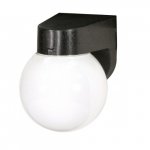 6in Outdoor Wall Light, Lexan Globe, 1-light, Black