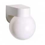 6in Outdoor Wall Light, Lexan Globe, 1-light, White