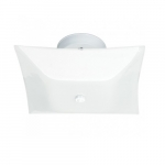12in Semi-Flush Mount Light Fixture, Square, 2-light, White