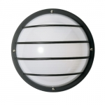 10in Outdoor Wall Light, Round Cage, 1-light, Black