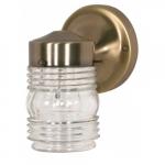 """6"""" Porch Porch Wall Light Fixture, Antique Brass, Clear Glass Mason Jar"""