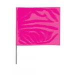 4-in X 5-in X 24-in Wire Stake Marking Flags, Pink Glo