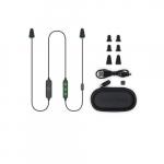 2 in 1 Bluetooth Headphones & Ear Plugs w/ Mic, USB Recharge, Black & Green