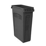 Slim Jim Black Recycling Container w/ Venting Channels