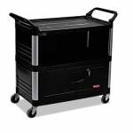 Black 3-Shelf AV Equiment Cart w/ Lockable Enclosed Shelf