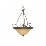 60W Castillo Series Pendant Light w/ Champagne Glass, 3 Lights, Sonoma Bronze