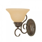60W Castillo Series Wall Fixture w/ Champagne Linen Washed Glass, 1 Light, Sonoma Bronze