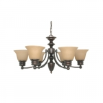 60W Empire Series Chandelier w/ Champagne Glass, 6 Lights, Mahogany Bronze