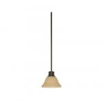 100W Empire LED Mini Pendant w/ Champagne Linen Washed Glass, 1 Light, Mahogany Bronze