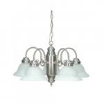 60W Chandelier w/ Alabaster Glass, 5 Lights, Brushed Nickel
