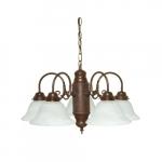 60W Chandelier w/ Alabaster Glass, 5 Lights, Old Bronze